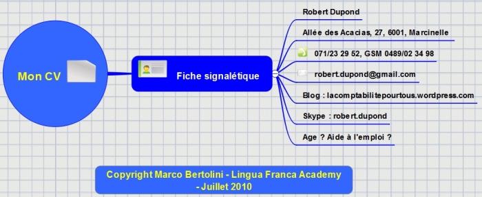 Partie de mindmap Dropmind : adresse et coordonnées sur le Curriculum vitae