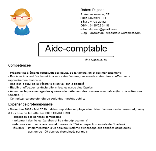 Illustration d'un CV d'aide-comptable avec les compétences et l'expérience professionnelle
