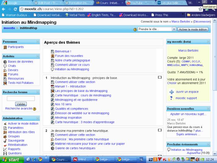 Vue d'une page de la plateforme Moodle pour le cours d'initiation au mindmapping
