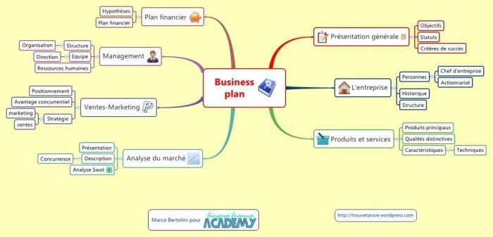 Business plan : mindmap réalisée avec XMind