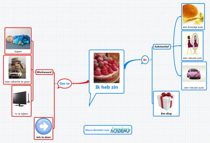 """Carte mentale XMind expliquant la différence entre les deux variantes de """"j'ai envie de"""" en néerlandais"""