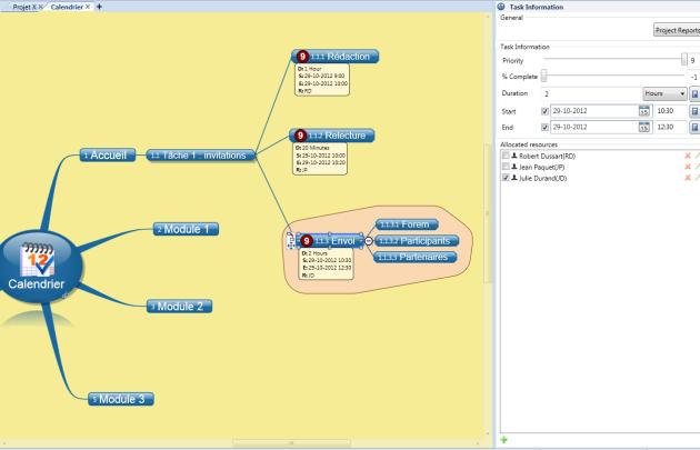 Gestion de projet : menu gestion des tâches du logiciel de mindmapping Novamind