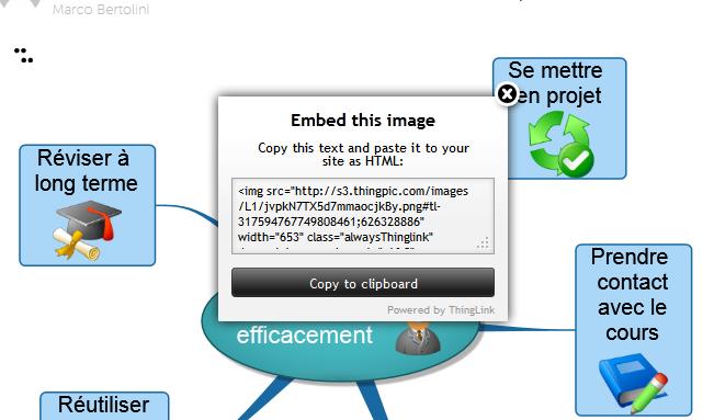 """Fonction """"embed"""" de Thinglink : permet d'insérer une image dans une page Web"""