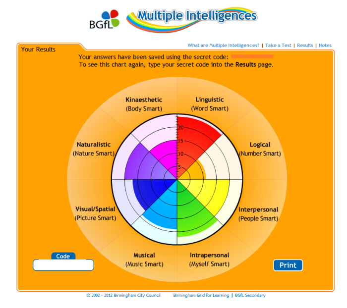Test de mesure des 8 types d' intelligences selon Howard Gardner