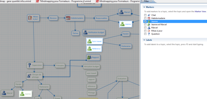 XMind : filtrage avancé, mise en surbrillance des sujets contenant la marqueur tâche de Jeanne