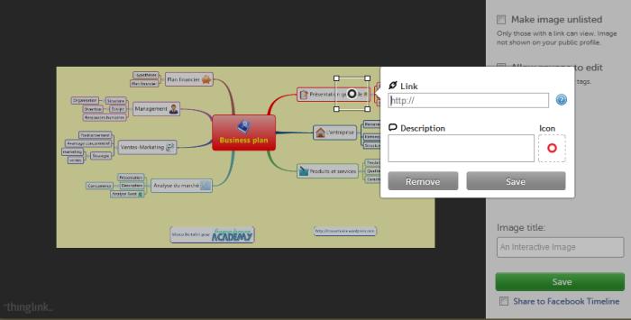 Menu d'édition des hyperliens et des descriptions de pages dans l'application en ligne Thinglink