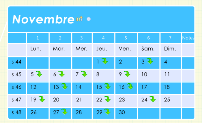 Agenda : mois de novembre 2013