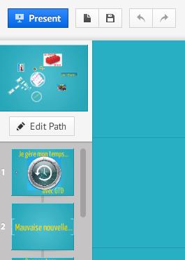 Le menu Path comprend désormais des slides ou dias comparables à celles de PowerPoint