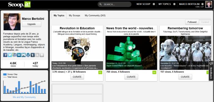 Capture d'écran montrant le profil dans la nouvelle version de scoop it - gain de lisibilité