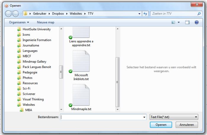 Mindmaple : fenêtre de dialogue, sélection du fichier à importer au format TXT