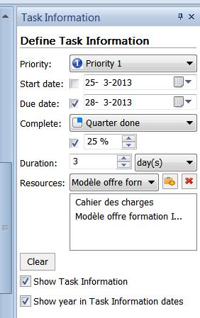 menu de définition des infos pour la gestion des tâches dans MindMaple