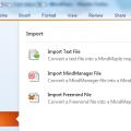 Menu d'importation des fichiers au format TXT dans une carte mentale MindMaple