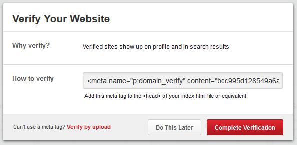 Alternative Metatag pour la vérification du site