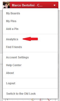 Pinterest, nouveau menu avec analytics