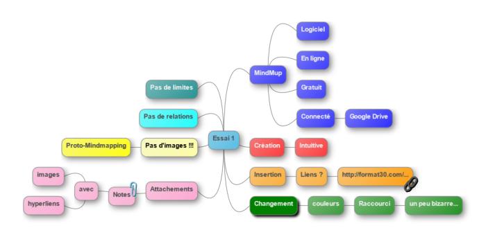 Mindmap réalisée avec l'application en ligne MindMup