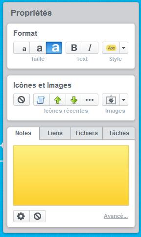 Menu MindMeister permettant de modifier les sujet, le texte, la couleur, la forme, d'intégrer des documents, des hyperliens, des tâches, etc.