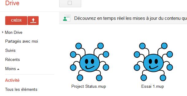 Capture d'écran des icones MindMup dans Google Drive