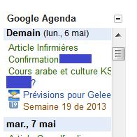 Affichage d'une fenêtre Google Agenda dans ma page Messagerie