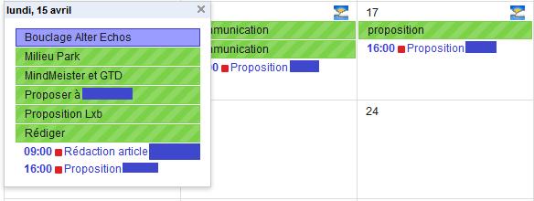 affichage du flux de tâches MindMeister dans le calendrier Google