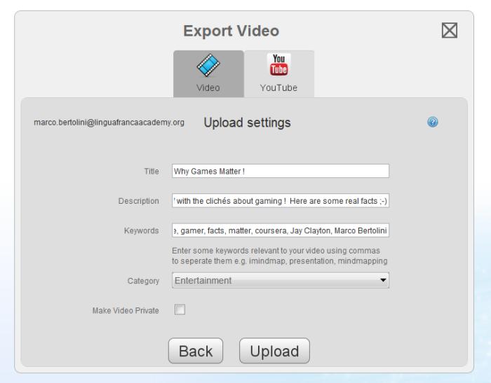 Décrivez votre vidéo, donnez-lui un titre et des mots-clés