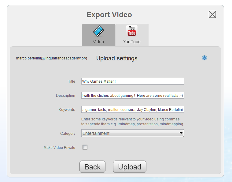 another dialog window to complete your Youtube video description