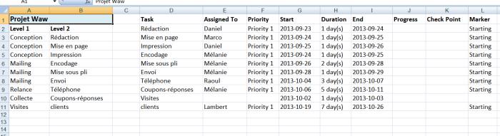 Exportez les informations relative à la gestion de votre projet dans le tableur de Microsoft