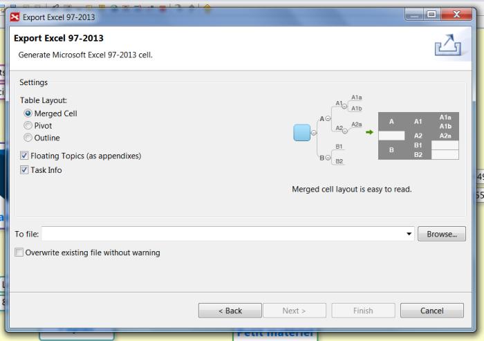 Exportez une mindmap XMind dans Excel en fusionnant les cellules