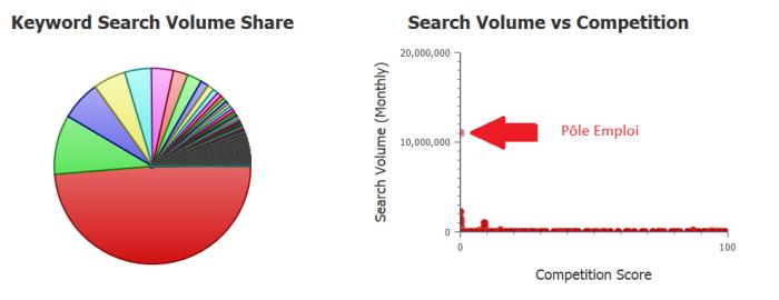 visualisation du volume de recherche et de la compétition