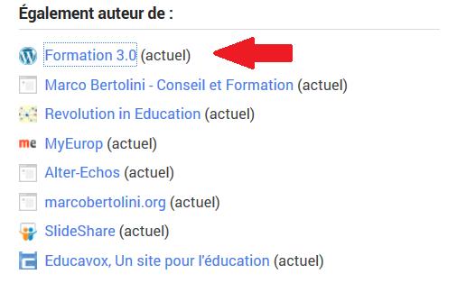 Liste des sites auxquels je contribue sur mon profil Google plus