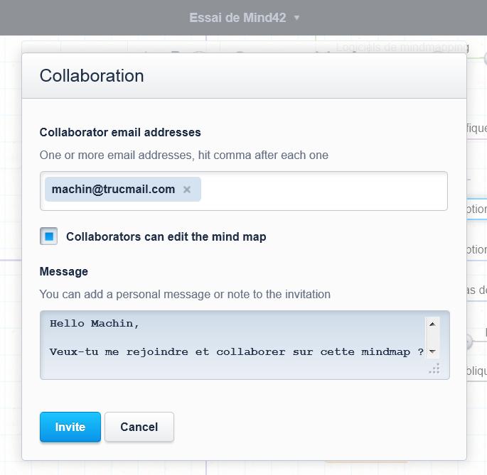 Menu d'invitation à collaborer en temps réel sur la carte mentale Mind42