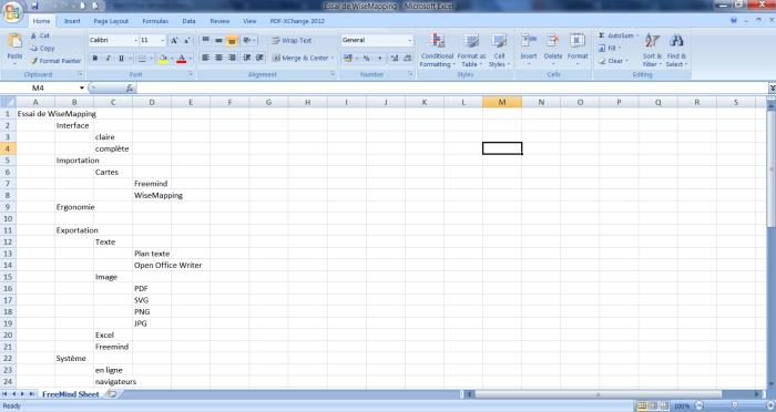 Exportation d'une carte mentale WiseMapping vers le tableur Excel de Microsoft