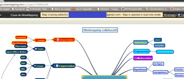 Collaboration en ligne avec Wisemapping - la carte peut être lue pendant que l'autre personne édite