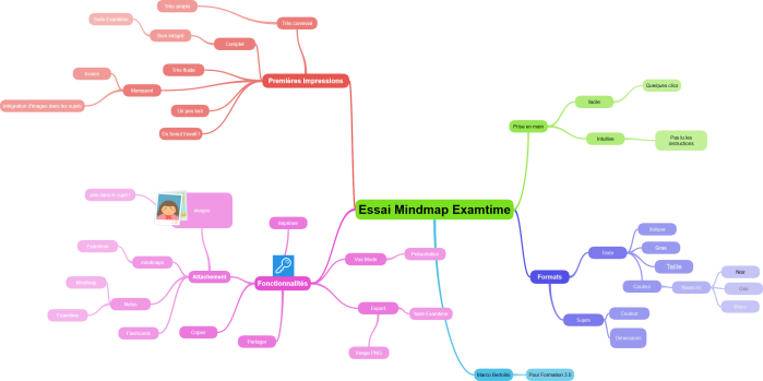 Test de l'application de Mind Mapping de la suite gratuite en ligne Examtime