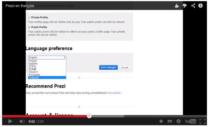 comment modifier la langue de l'interface de Prezi : de l'anglais vers le français