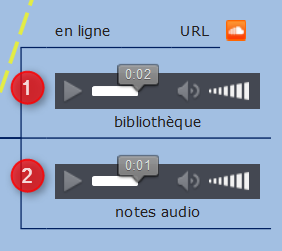 Plusieurs types de fichiers audio dans une mindmap mindomo : une adresse d'enregistrement soundcloud, un fichier mp3 et une note audio