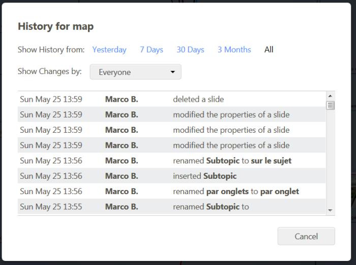 Révision : Mindomo affiche l'historique des modification d'une carte mentale réalisée avec le logiciel de mindmapping  avec plusieurs périodes possibles