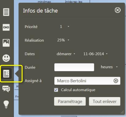 Menu Intégration des tâches dans le logiciel de mindmapping collaboratif Mindomo pour la gestion de  projets