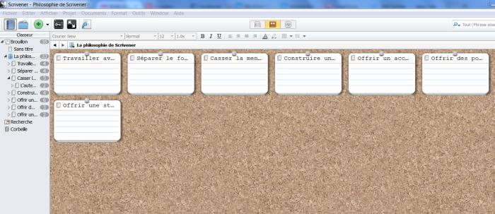 Vue sous forme de tableau de liège de la carte mentale mindomo importée dans Scrivener au format OPML