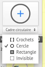 Ajout de cadres de formes différentes - cercles, rectangles, crochets ou invisibles - dans une présentation Prezi