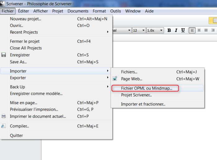 Le menu d'import des cartes mentales au format mindmap Freemind ou OPML dans Scrivener