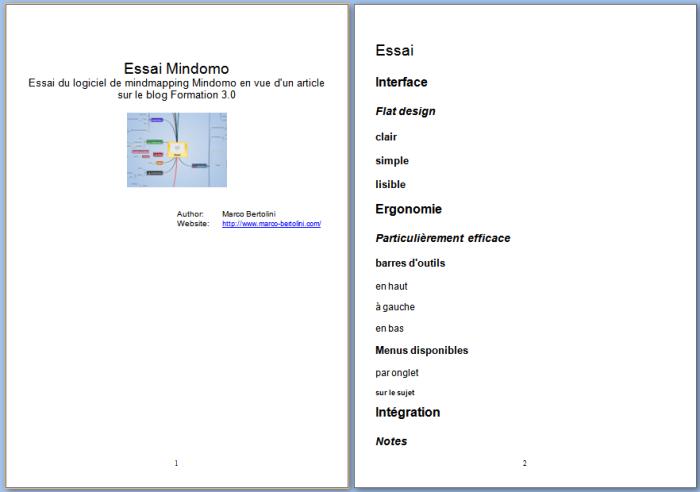 Exemple d'exportation d'une mindmap Mindomo vers un fichier de format RTF dans le traitement de texte Word