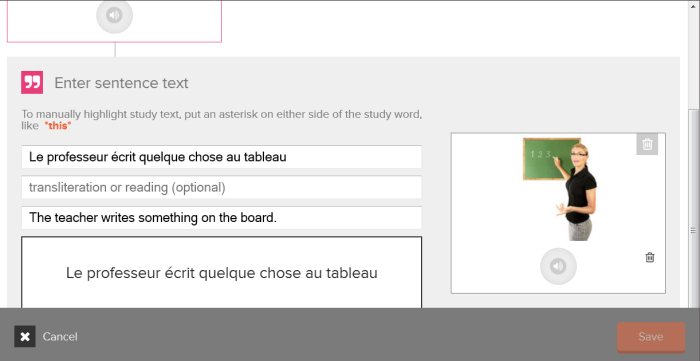 Ajout d'une phrase-type pour contextualiser un nouveau mot dans une flashcard de vocabulaire