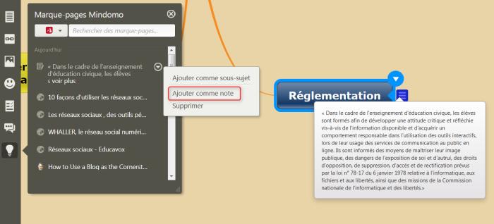 Texte sélectionné dans une page web ajouté comme note dans la mindmap Mindomo