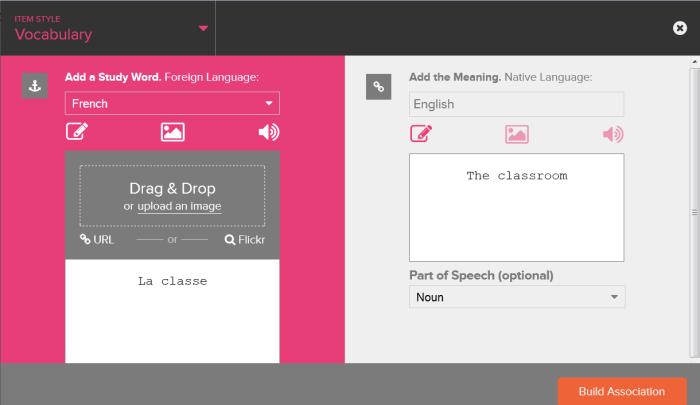 Console Cerego pour ajouter une flashcard de vocabulaire pour étudier une langue étrangère