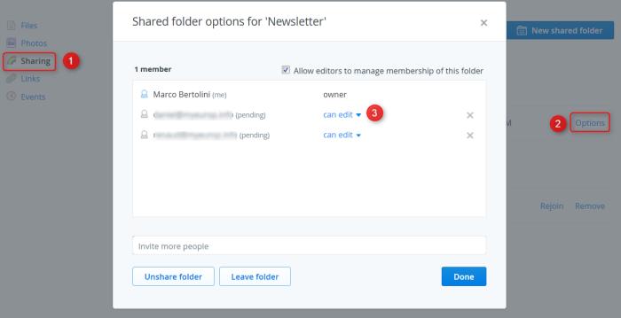 Procédure pour autoriser la seule consultation d'un dossier partagé sur Dropbox Pro