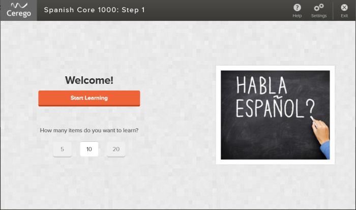 Ecran d'accueil d'un jeu de flashcards pour apprendre l'espagnol dans Cerego