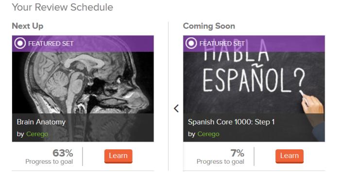 Calendrier des révisions dans l'application de flashcards en ligne Cerego