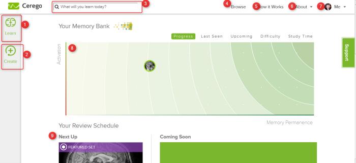 Ecran d'accueil de l'interface de Cerego, logiciel d'apprentissage rapide par flashcards en ligne