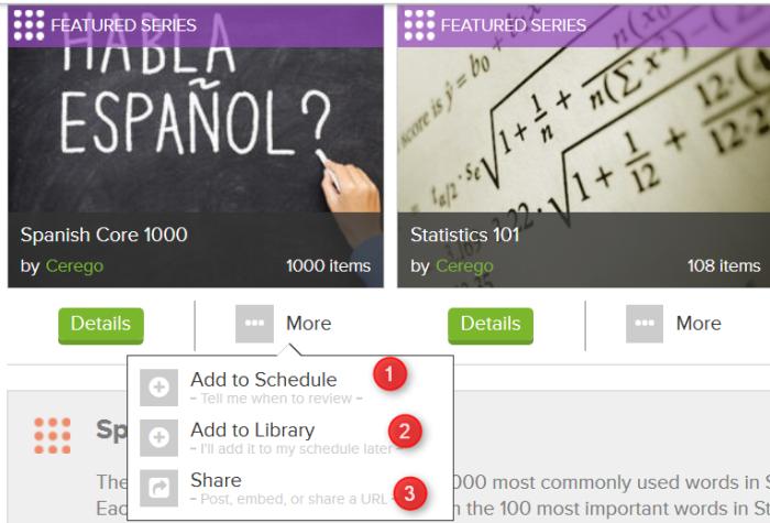 Options d'ajout à la bibliothèque, au calendrier et de partage sur Cerego