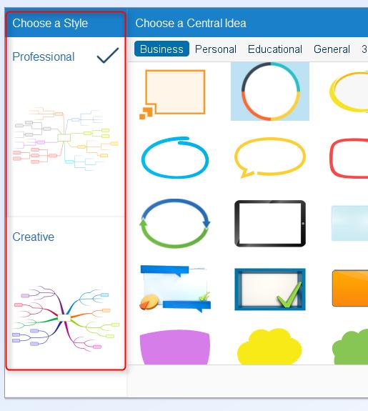Fenêtre de dialogue dans iMindMap 7.1.2 : choix du style professionnel ou créatif